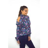 Blue flower blouse
