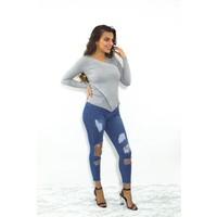 High waist jeans blauw ripped
