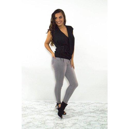 High waist jeans licht grijs