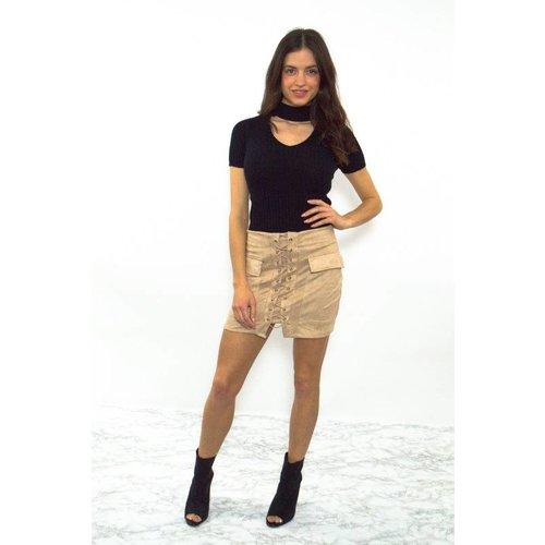 Lace it up skirt beige