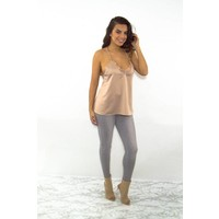 Backless lace top beige