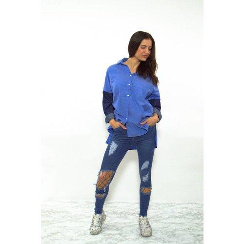 Denim sleeve blouse blue