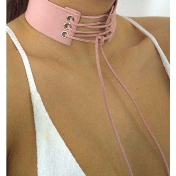 Choker lace up pink
