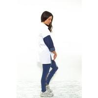Denim sleeve blouse white