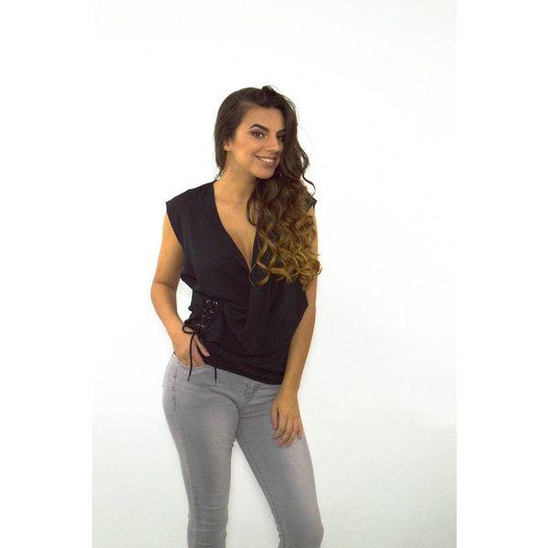 Lace it up blouse black