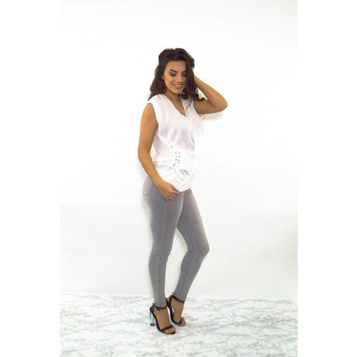 Lace it up blouse white