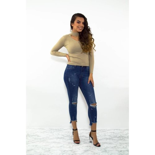 High waist jeans blauw spetters