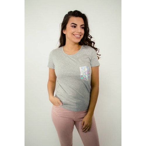 T-shirt silver pocket grey