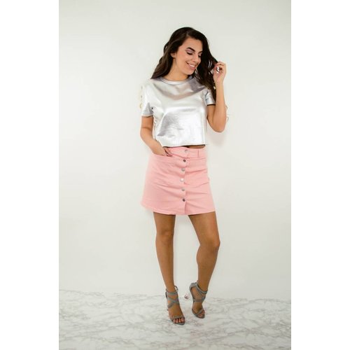 Skirt button up pink