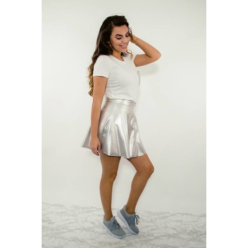 Skirt silver metallic