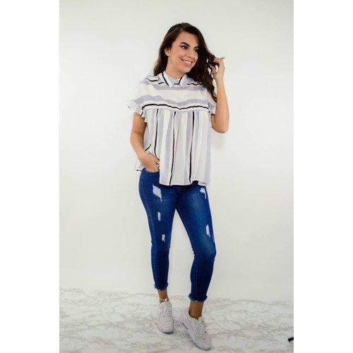 Top striped wit/blauw