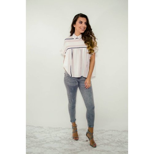 Top striped wit/roze