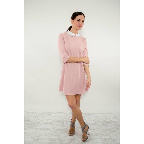 Dress pink/white collar