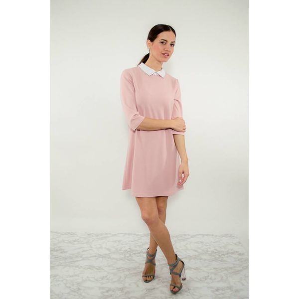 Dress pink/white collar