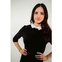 Dress black/white collar