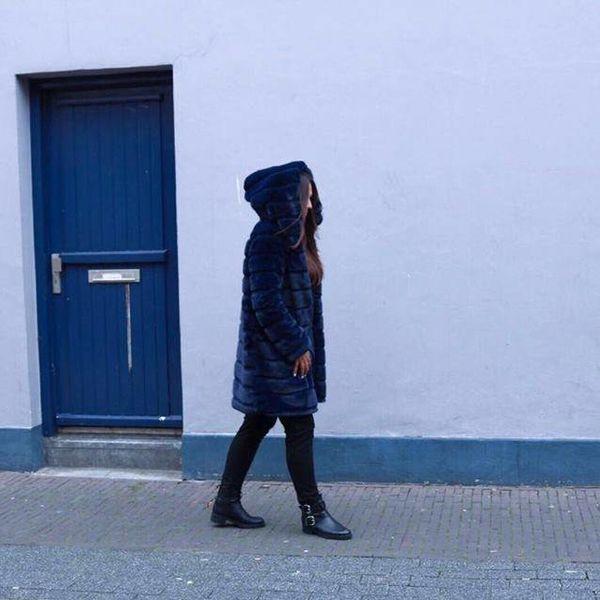 Faux fur jack LONG dark blue