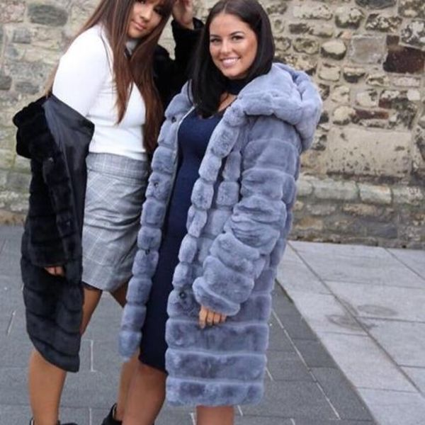 Faux fur teddy coat long Grey