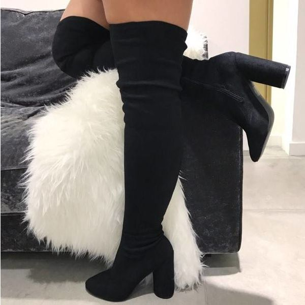 Suede overknee heels Black