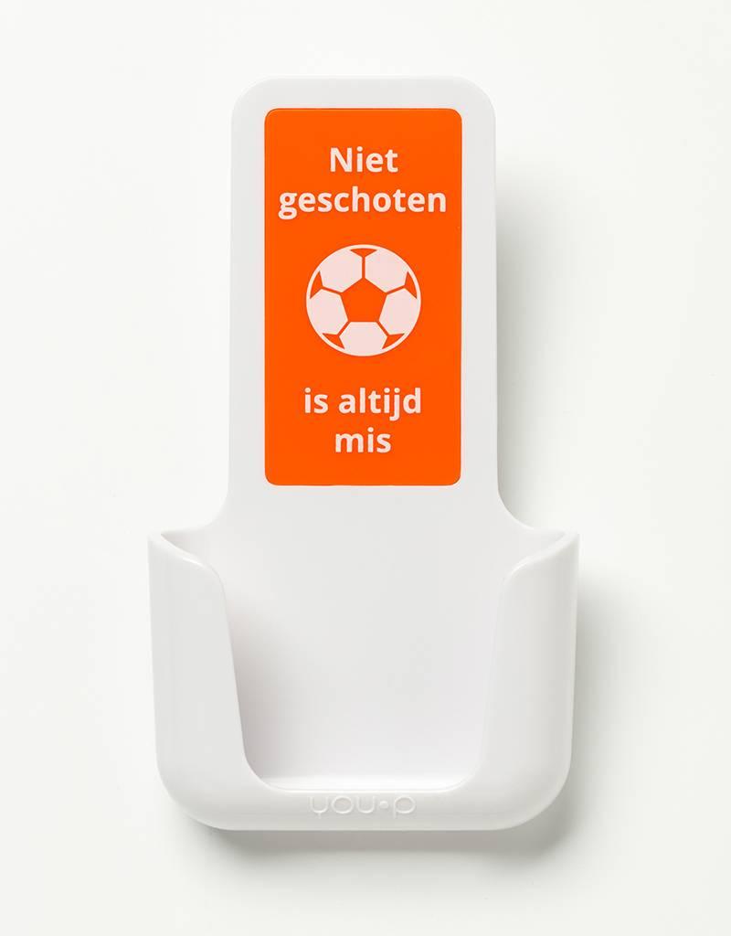 YOU·P® YOU·P® smartphonehouder | witte houder |  oranje klepje | Niet Geschoten Is Altijd Mis