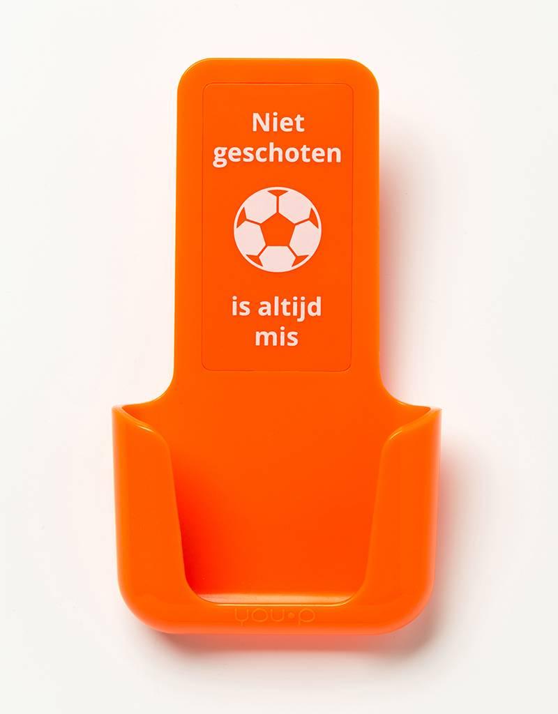 YOU·P® YOU·P® smartphonehouder | oranje houder |  oranje klepje | Niet Geschoten Is Altijd Mis