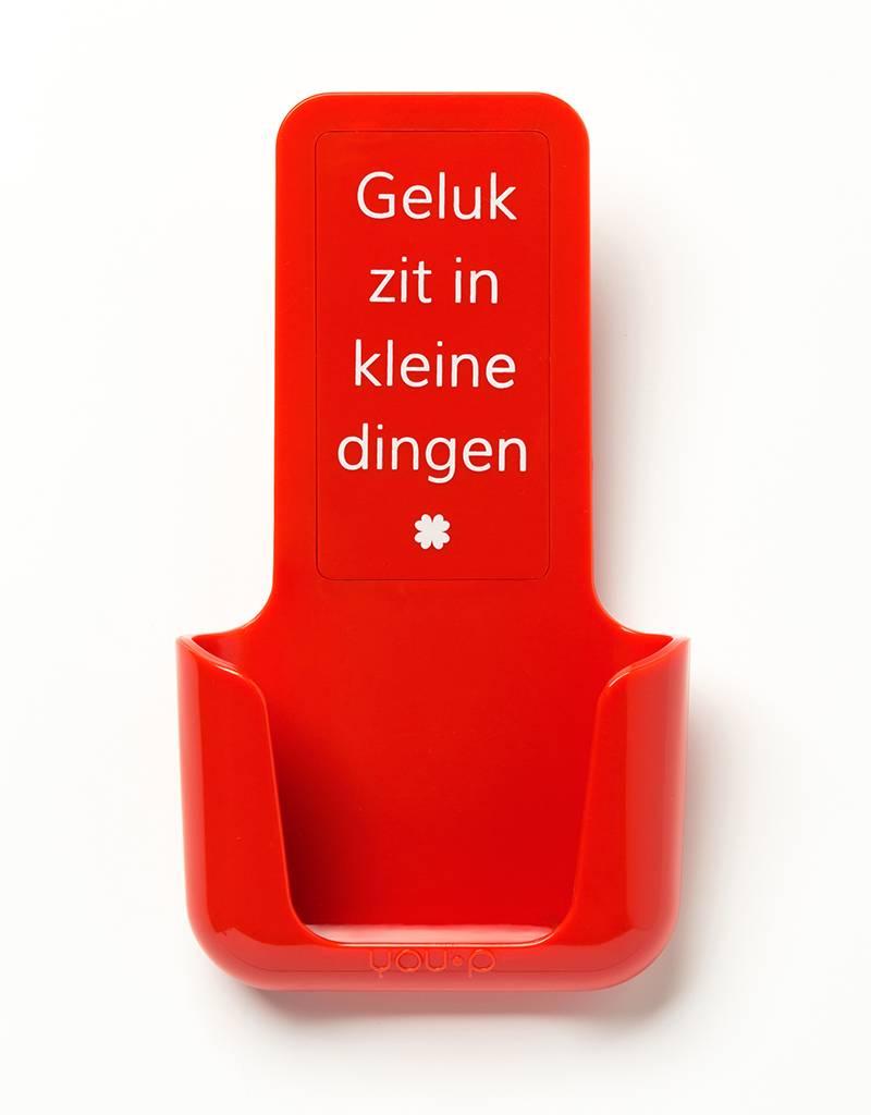 YOU·P® YOU·P® smartphonehouder | rode houder | rood klepje | Geluk Zit In Kleine Dingen