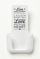 YOU·P® YOU·P® smartphonehouder | witte houder | wit klepje |  Live Laugh Love
