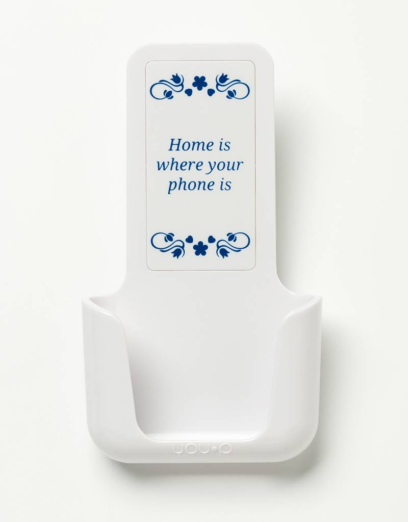 YOU·P® YOU·P® smartphonehouder | witte houder | wit klepje | Home is where your phone is