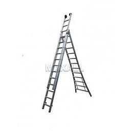 MAXALL®  MAXALL®  Driedelige Reformladder 3x14 + gevelrollen (max. werkhoogte 9 meter)