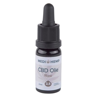 Medihemp CBD Olie Raw 2,5% CBD, 10 ml.