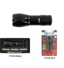 Homeij Homeij LED9 - zaklamp - 3 AAA - aluminium - zwart
