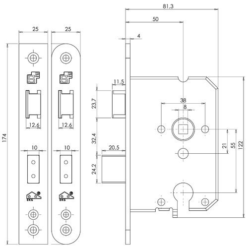 Veiligheidsinsteekslot PC55 SKG**