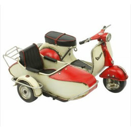 Scooter Specialist N.I. Classic Vespa model with sidecar, red and white