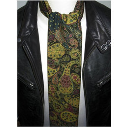 Supernova Scarves LIBERTY BLACK AND GOLD PAISLEY SCARF