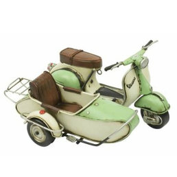 Scooter Specialist N.I. Classic Vespa model with sidecar, green and white