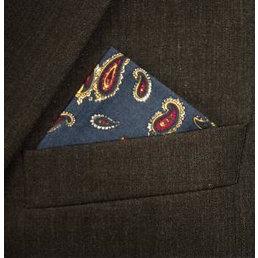 Supernova Scarves nvy/gld paisley hankerchief