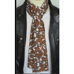 Supernova Scarves TAN AND CREAM LONG PAISLEY SCARF