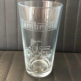 Lambretta etched pint glass