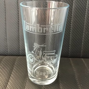 Lambretta etched glass tumbler