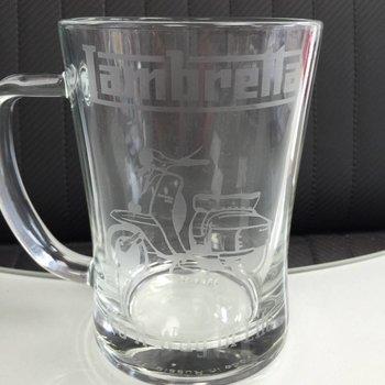 Lambretta etched glass tankard