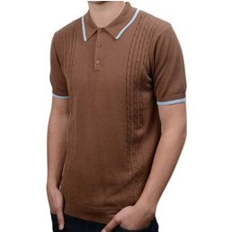 Art Gallery Moore Cable Polo Shirt COFFEE XL