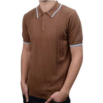 Art Gallery Moore Cable Polo Shirt, COFFEE, XL