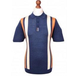 David Watts Navy racing knitted polo