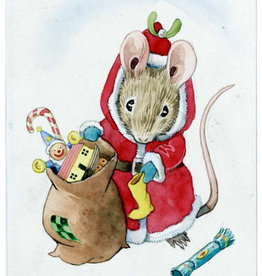 The Porch Fairies Mouse dressed as Santa