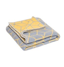 Atlantic Blankets Grey & Yellow Geometric Throw 160 x 250cm