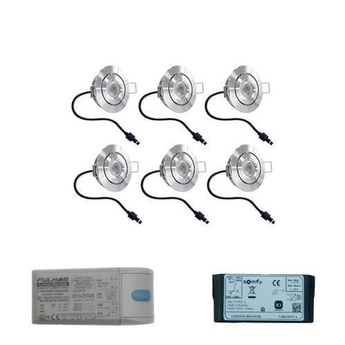 INTOLED Set 6x3 Watt dimbare Lavanto LED inbouwspots IP44 met Somfy IO ontvanger