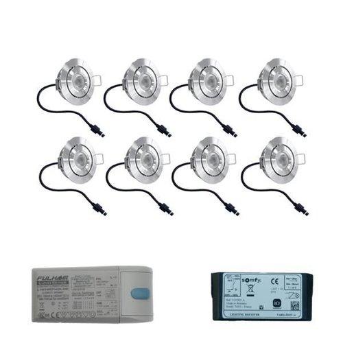 Set mit 8x3 Watt dimmbarer Lavanto LED Einbaustrahler IP44 mit Somfy IO Empfänger