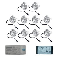 Complete set 10x3W dimmable Lavanto LED porch lights IP44 including Somfy IO receiver excluding remote controle