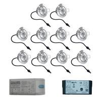 Set mit 10x3 Watt dimmbarer Lavanto LED Einbaustrahler IP44 mit Somfy IO Empfänger Exklusive Fernbedienung