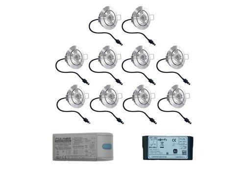 INTOLED Set 10x3 Watt dimbare Lavanto LED inbouwspots IP44 met Somfy IO ontvanger