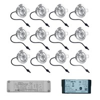 Complete set 12 stuks dimbare Lavanto LED inbouwspots 3W IP65 [vochtbestendig] met Somfy IO ontvanger